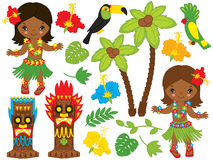 Vector Hawaiian Little Girls Dancing Hula, Luau Party, Tiki, Parrot, Toucan. Vector Hawaiian cute little girl in grass skirt, with hibiscus in hair and flower Stock Photo
