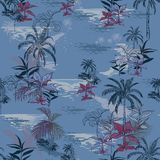Vector of hawaiian tropical print Island seamless pattern print. For summer vibes with leaves ,trees, plants,summer flowers   on ocean blue background in hand Stock Images
