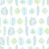 Vector hawaiisches nahtloses Muster des hellgrünen und blauen geometrischen tropischen Sommers mit tropischen Grünpflanzen und Bl lizenzfreie abbildung