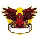 Hawk mascot spreading the wings. Vector of hawk mascot spreading the wings stock illustration