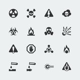Vector hazard and danger icons set. Vector hazard and danger mini icons set Royalty Free Stock Photography
