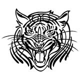 Vector head of an aggressive tiger tatoo Stock Images