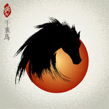 Vector head of horse, Year of the Horse. Seal and Chinese meaning: swift horse Royalty Free Stock Images