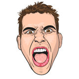Vector head of a screaming  young men. Royalty Free Stock Images
