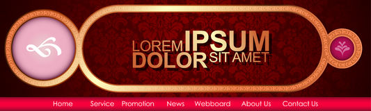 Vector Header Horizontal Web Menu Design. Royalty Free Stock Photography