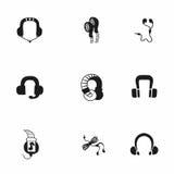 Vector headphone icon set Stock Image