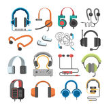 Vector headphone icons set on white background Stock Photos