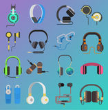 Vector headphone icons set on white background Royalty Free Stock Image