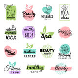 Vector health and beauty care labels. Spa, yoga centers badges. Wellness signs. Hand drawn tags and elements. Royalty Free Stock Photos