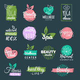 Vector health and beauty care labels. Spa, yoga centers badges. Wellness signs. Hand drawn tags and elements. Royalty Free Stock Photo