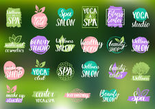 Vector health and beauty care labels. Spa, yoga centers badges. Wellness signs. Hand drawn tags and elements. Stock Photo