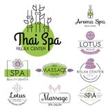 Vector health and beauty care spa badge hand drawn tags and elements set for organic cosmetics, natural products. Vector health and beauty care logos or labels Royalty Free Stock Photography