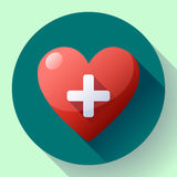Vector health care icon, white cross in red heart Stock Photo