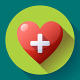 Vector health care icon, white cross in red heart Stock Image