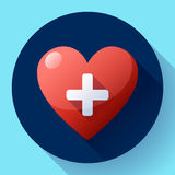 Vector health care icon, white cross in red heart Royalty Free Stock Image