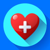 Vector health care icon, white cross in red heart Stock Photos