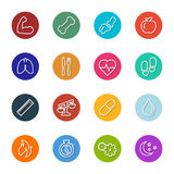 Vector Health And Fitness Line Icons Within Circles Collection. Collection of vector line illustrations of various health and fitness icons within circles in two Stock Photography