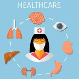 Vector healthcare medical flat background. Stock Images