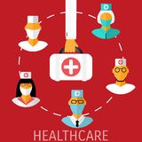 Vector healthcare medical flat background. Royalty Free Stock Photo