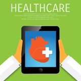 Vector healthcare tools in device. Vector healthcare tools in device flat illustration Royalty Free Stock Images