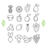 Vector healthy eco fruit and vegetables icons Stock Photography