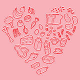 Vector healthy food heart pink. Vector healthy foods heart pink Royalty Free Stock Photos