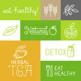 Vector healthy and fresh farm products labels Stock Image