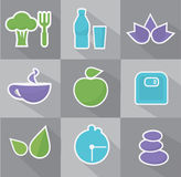 Vector healthy life icons set. Royalty Free Stock Photos