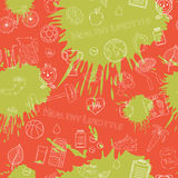 Vector Healthy lifestyle white pattern. With various thematic elements on a orange and green blots ink background.Thin line Royalty Free Stock Image