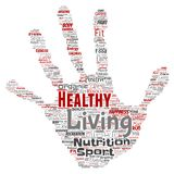 Vector healthy living positive nutrition sport hand print. Vector conceptual healthy living positive nutrition sport hand print stamp word cloud  background Royalty Free Stock Photo
