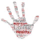 Vector healthy living positive nutrition sport hand print. Vector conceptual healthy living positive nutrition sport hand print stamp word cloud isolated Stock Photography