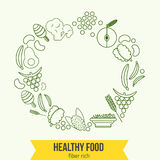 Vector  healthy rich fiber foods line icons wreath Royalty Free Stock Image