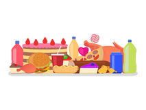 Vector heap colorful harmful unhealthy fast food. Vector illustration heap set of colorful food. Harmful to health snack. Drinks, sweets and fatty meal. Picture Stock Images