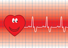 Vector heart. Illustration of vector heart and heartbeat Stock Photo