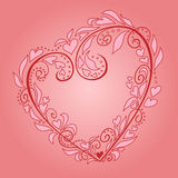Vector heart. Abstract floral heart on a pink background Royalty Free Stock Photo