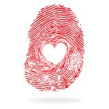 Vector heart. Man or woman fingerprint valentine romantic background. Design element Royalty Free Stock Images
