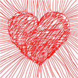 Vector heart. Hand drawn illustration of red hearts, vector added Royalty Free Stock Images