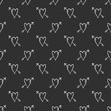 Vector Heart background, love and arrows. On black background, seamless romantic pattern Stock Image