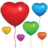 Vector heart balloon. Color set. Set of shiny vector heart balloons: red, green, blue, purple, orange, yellow. on white background stock illustration