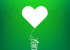 Vector heart balloon plus trash Royalty Free Stock Images