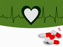 Vector Heart beat  illustration with capsules Stock Photography