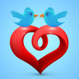 Vector heart with birds Royalty Free Stock Photography