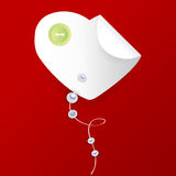 Vector heart with button and pearls Stock Images
