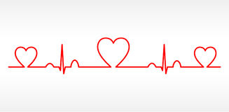 Vector Heart cardiogram charts Royalty Free Stock Photography