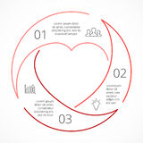 Vector heart circle linear infographic. Template for love cycle diagram, graph, presentation, round chart. Business Royalty Free Stock Photos