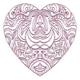 Vector heart for coloring with valentines decorative elements. Royalty Free Stock Photography