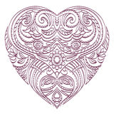 Vector heart for coloring with valentines decorative elements. Royalty Free Stock Photos