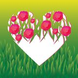 Vector heart covered with roses. White vector heart covered with pink roses on grass background Stock Image