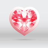 vector heart with diamond, abstract design for Val Stock Photos