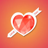 Vector heart with diamond, abstract design for Val Stock Images